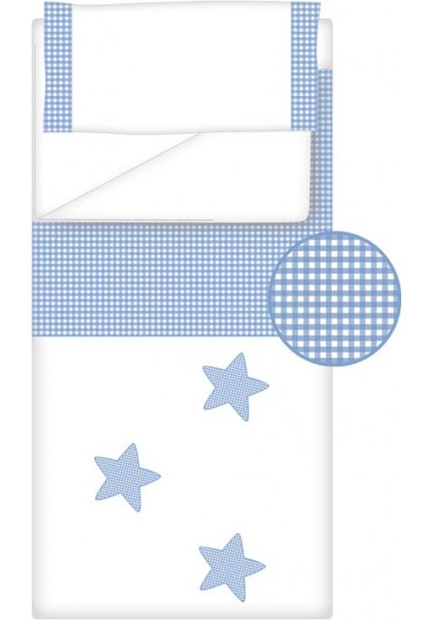 Prêt à Dormir Zippé Non-Extensible Coton et Vichy Carré – Dpkes STELLA bleu clair