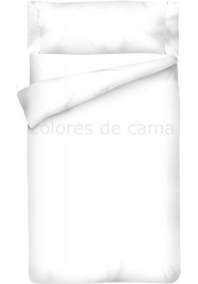 Housse de Couette Blanc Unie + Taie d'Oreiller
