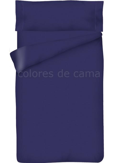 Housse de Couette Bleu Marine Unie + Taie d'Oreiller
