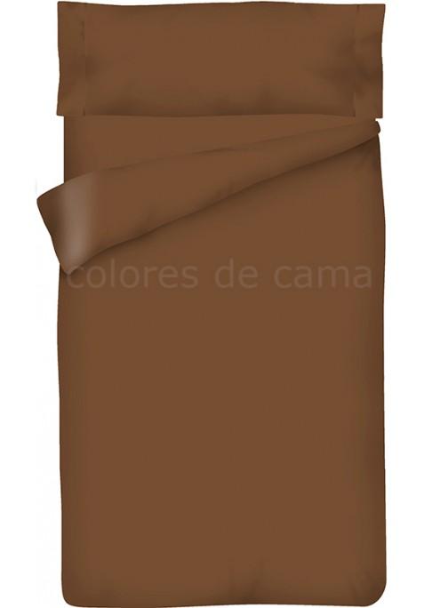 Parure de Couette Marron Chocolat Unie - Housse de Couette + Taie d'Oreiller